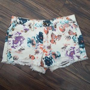 NWOT Free People Flower Print Short Jeans